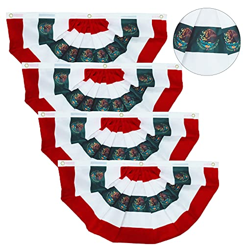 4PC 3 x 1.5 Foot Bandera de México Pleated Fan Flag,Independence Day in Mexico Half Fan Banner Reusable Mexican Flags Fan Flags Decoration Indoor/Outdoor