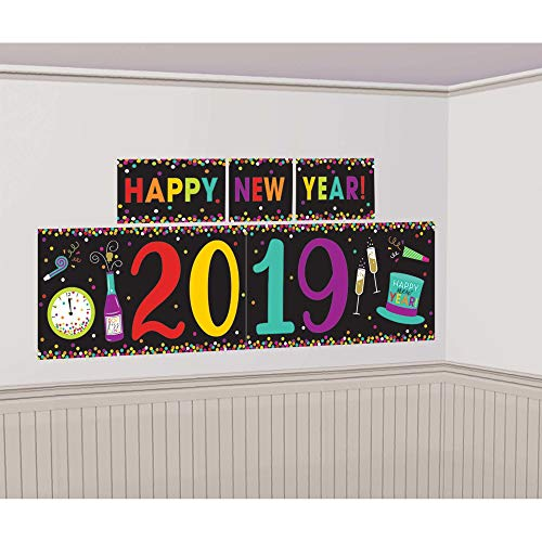 (Amscan Colorful 2019 New Year's Scene Setter, NYE Banner, 5 Piece)