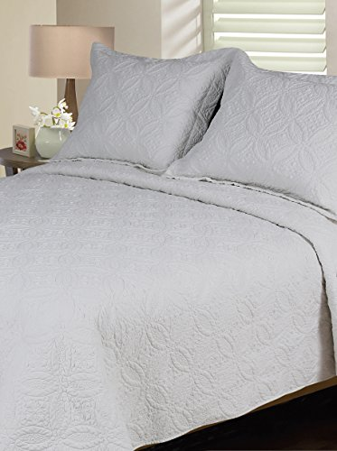 [Melange Home 190201 Solid Quilt Set, Full/Queen, White] (Wedding Ring Quilt Throw)