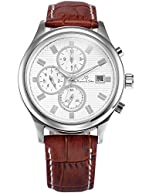 KS Automatic Mechanical Men's Analog Wrist Watch Gold Case Brown Leather Band KS152