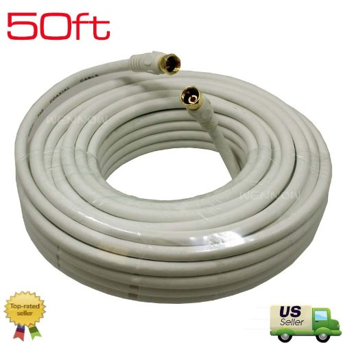 WennoW® 50ft RG6 F-Type Coaxial 75Ohm White Cable for Anten