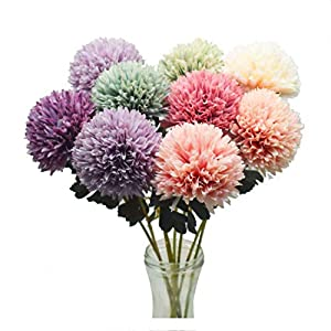 Memoirs- Real Touch Artificial Flowers Pompom Dandelion Fake Flowers Silk White Pink Flower Wedding Party Home Decoration Pompon Bouquet 48