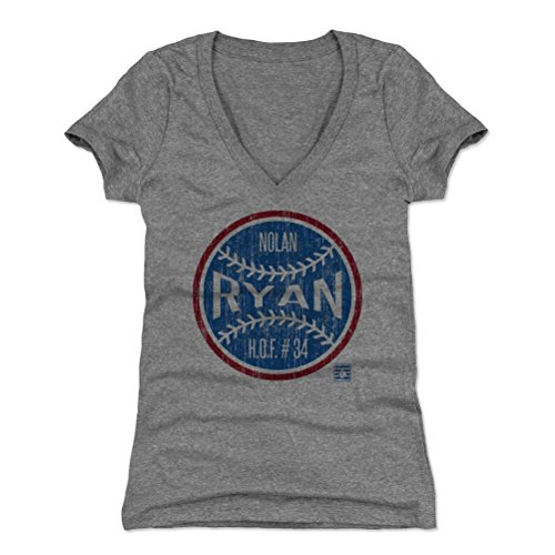 500 LEVEL Nolan Ryan Women's V-Neck Shirt Large Tri Gray - Vintage Texas Baseball Women's Apparel - Nolan Ryan Ball BR (Texas Rangers V Neck)