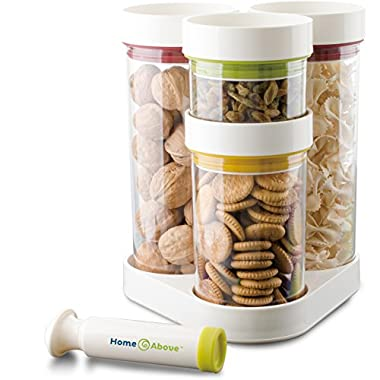 Vacuum Food Container 5pc Set in Rotating Carousel with Vacuum Pump, Seals in Freshness, Saves Chips, Cookies and More for Weeks, Saves Space, Organizes Kitchen Clutter - From Home & Above