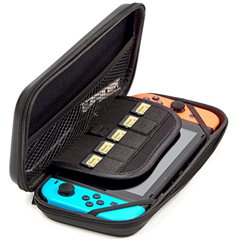 Evecase Hard EVA Slim Carrying Case Compatible with Nintendo Switch, Protective Portable Carry Case Shell Pouch for Nintendo Switch Console, Game Cards & Accessories - Black