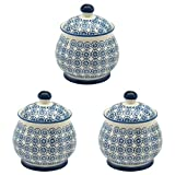 Patterned Sugar Bowl / Pot with Lid - Blue Flower - Box of 3