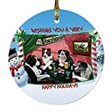 Home of Border Collies 4 Dogs Playing Poker Photo Round Christmas Ornament