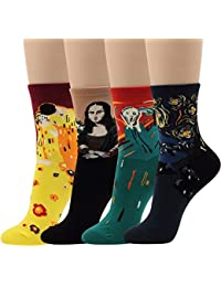 Women Novelty Dress Crew Cotton Socks Artist Painting Rainbow Pattern 4 pairs calcetines