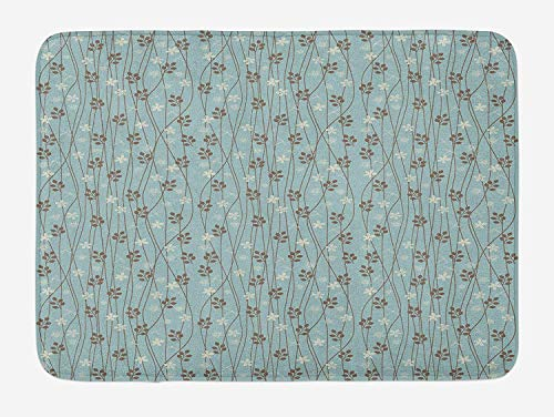 lsrIYzy Vintage Bath Mat, Floral Rustic Composition with Blossoming Branches Wildflowers Garden, Plush Bathroom Decor Mat with Non Slip Backing, 23.6 x 15.7 Inches, Pale Blue Cream Umber