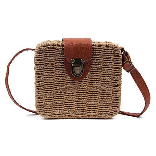 Vintage Straw Bags - Women Vintage Straw Bags Handmade Woven Satchels Crossbody bags Small Beach Messenger Shoulder Bag.