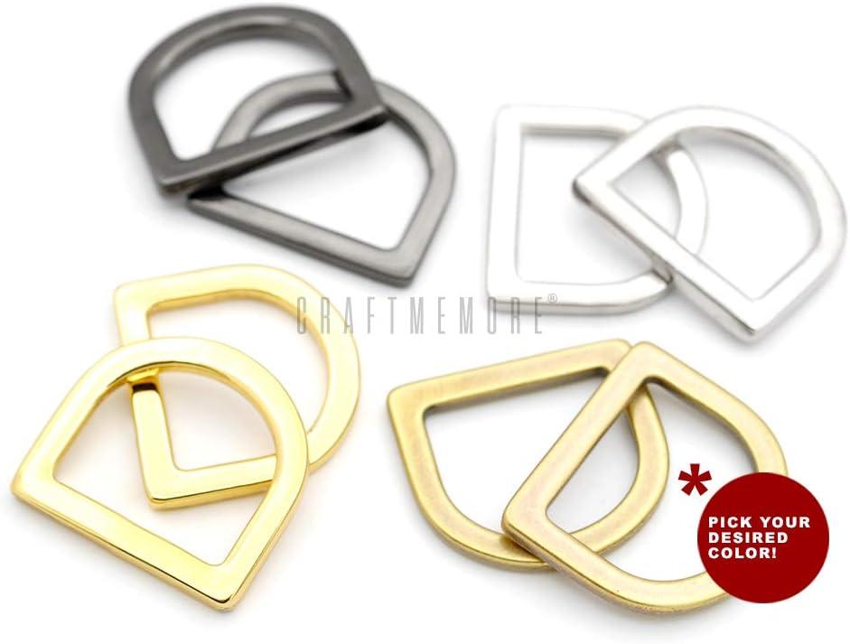 1 Inch, Antique Brass CRAFTMEMORE 3//4 or 1 Flat D-Rings Purse Loop Flat Metal D-Ring Findings for Bag Belt Strap Webbing Pack of 10 PTDH