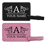 Personalized Initial & Name Tag 2-pack Laser Engraved Leather Customized Luggage Tags Pink & Black