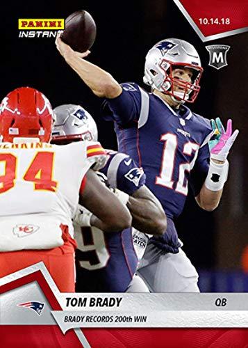 - 2018 Panini Instant NFL Football #66 Tom Brady New England Patriots Records 200th Win Print Run 74