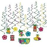 BESTOMZ Hawaiian Decorations Hanging Swirls for Luau Party Favor- 30 Pack