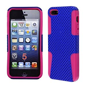 CELL PHONE COVER PROTECTOR MESH SOFT SILICONE RUBBER SKIN CASE FOR APPLE IPHONE 5 5S AA-005E HOT PINK BLUE by mcsharks