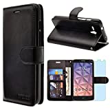 Alcatel OneTouch Fierce XL Case, INNOVAA Premium Leather Wallet Case with STAND Flip Cover W/ Free Screen Protector & Touch Screen Stylus Pen - Black