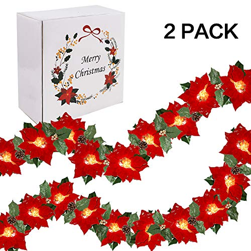 RUBFAC 2 Pack Lighted Poinsettia Christmas Garlands 13.6ft Red Artificial Poinsettia Christmas Decorations with Golden Berries, Pine Cones and Holly Leaves Indoor and Outdoor Use (20 LED)