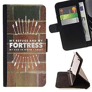 BullDog Case - FOR/LG G2 D800 / - / MY REFUGE AND MY FORTRESS /- Monedero de cuero de la PU Llevar cubierta de la caja con el ID Credit Card Slots Flip funda de cuer
