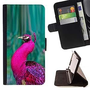BullDog Case - FOR/Samsung Galaxy S5 V SM-G900 / - / peacock bird green vibrant purple feather /- Monedero de cuero de la PU Llevar cubierta de la caja con el ID Credit Card Slots Flip funda de cuer