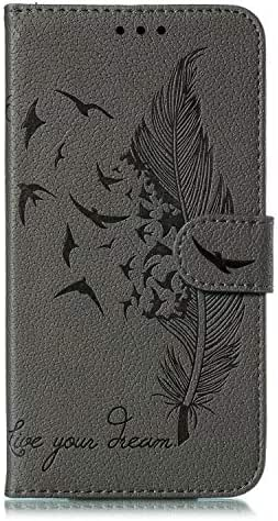 Samsung Galaxy S10 Case, Shockproof Premium Soft PU Leather Flip Notebook Wallet Case Embossed Feather Birds with Magnetic Stand Card Holder Slot Folio TPU Bumper Protective Skin Cover gray