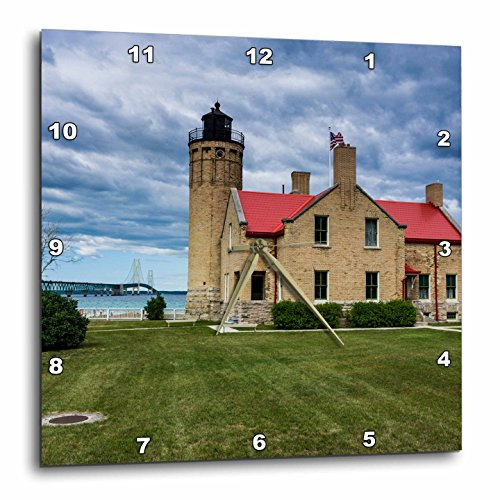 3dRose Danita Delimont - Lighthouses - Old Mackinac Point Lighthouse on two Great Lakes, Michigan, USA - 13x13 Wall Clock - Outlet Michigan Lakes Great