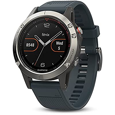 Garmin Fenix 5 Multisport 47mm GPS Watch - Silver with Granite Blue Band (010-01688-01) + 1 Year Extended Warranty + Silicon Wrist Band - Green + Universal USB Travel Wall Charger