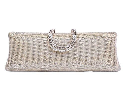 Gold Womens Bridal Fabric Dinner Clutch Sparkly Evening Purse Glitter Bag BzFqBr