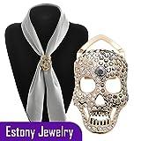 Estony Skull Skeleton Sweater Cape Scarf Buckle Brooch Clips Pin For Women
