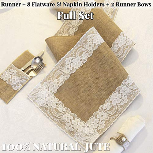 - Full Set Rustic Table Runner with 8 Flatware Holders, 8 Napkin Holders and 2 Table Bows - Hessian Burlap Jute and Lace - 12