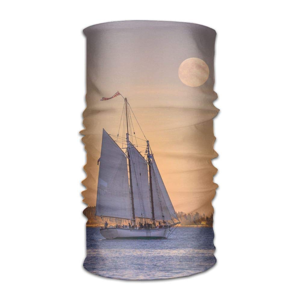 Moon Sailboat Unisex Fashion Quick-Drying Microfiber Headdress Outdoor Magic Scarf Neck Neck Scarf Hooded Scarf Super Soft Handle