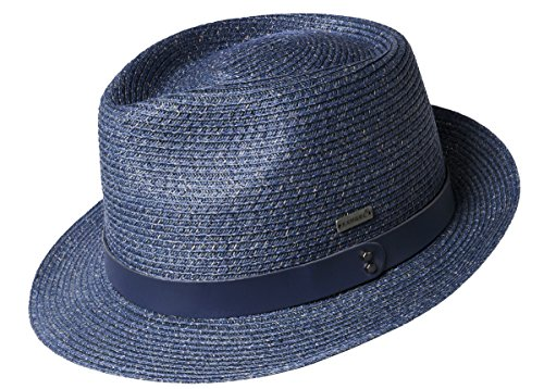 Kangol Men's Waxed Braid Trilby Fedora Hat, Denim, - Trilby Braid Fedora Hat