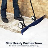 The Snowcaster 30SNC Wheeled Snow Pusher Shovel, Blue