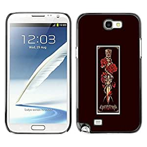 LECELL--Funda protectora / Cubierta / Piel For Samsung Galaxy Note 2 N7100 -- Dagger Red Rose Vignette Poster Skull --