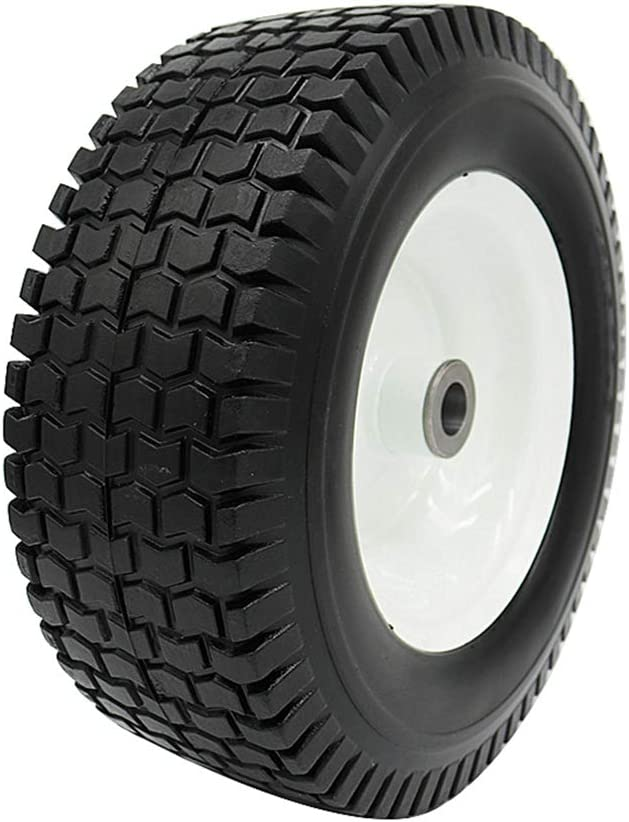 "BAIVE BW 13x5.00-6"" Solid Wheelbarrow Tire Flat Free Turf Wheel with 3"" Iron Hub, 3/4"" Bearings"