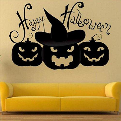 IXIMO Happy Halloween Pumpkin Wall Stickers Black Removeable Mura Decor Art Stickers Room Decoration Pumpkin