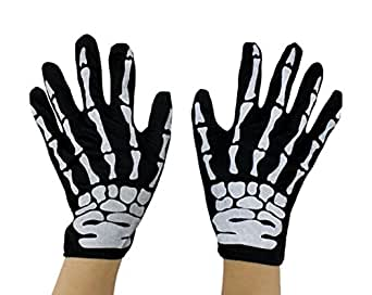 October Elf Children Adult Halloween Party Costume Gloves (Skeleton)