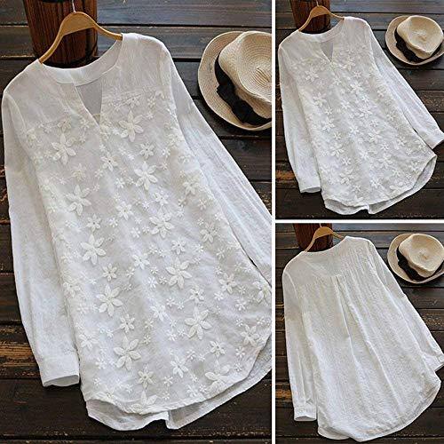 Larga Holgados Fuxitoggo Blusa Bordados Blanco Talla Para Floral Encaje V Damas Grande Suelta Manga Mujer Tops En De Camiseta Cuello Con Mujeres axqag6wr