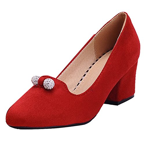 Mee Shoes Damen bequem Nubukleder Strass chunky heels Pumps Rot