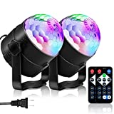 YouOKLight Sound Activated Party Lights with Remote Control Dj Lighting, RBG Disco Ball Light, Strobe Lamp 7 Modes Stage Par Light for Home Room Dance Parties Bar Karaoke Xmas Wedding Show Club, 2 Pac
