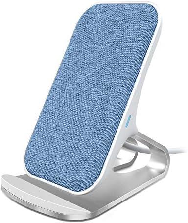 Lecone Fast Wireless Charger, 10W Kabellose Ladeständer aus Textil-Stoffe Kompatibel mit iPhone 11/ XR/XS/XS Max/X/8/8 Plus und Samsung Galaxy S10/S10+/S9/S9+ Note10 usw (Blau)