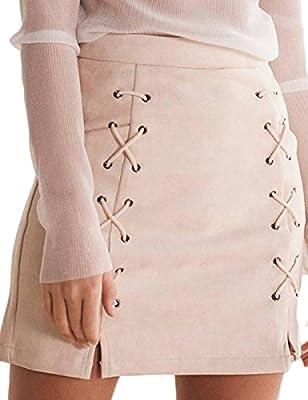 Prograce Women Sexy Criss Cross Tight Bodycon Faux Suede Stretch Mini Skirt