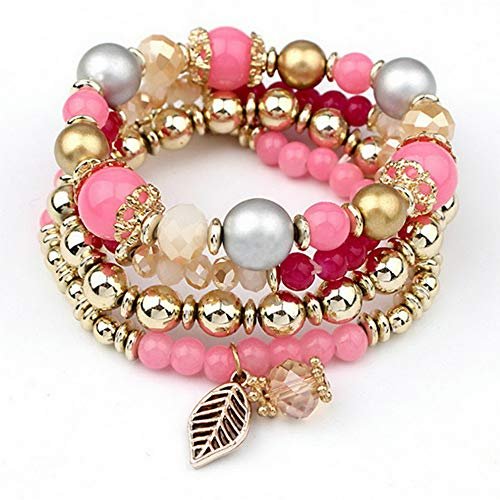 (Sandover Multilayer Natural Stone Crystal Turquoise Bangle Women Beaded Bracelet Jewelry | Model BRCLT - 24878 | 4pc Red)