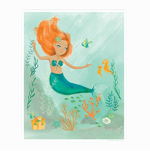 Sea Urchin Studio, Watercolor Mermaid wall art 12