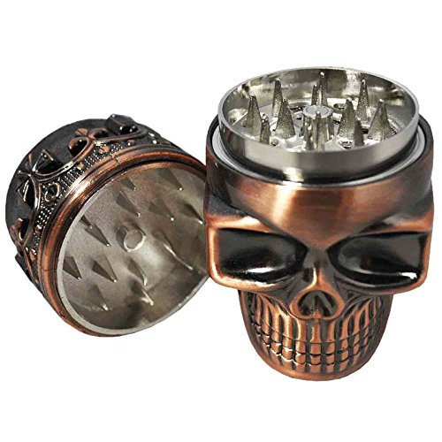 Oliasports Herb Spice Coffee Crown Skull Smoking Tobacco Grinder, Bronze
