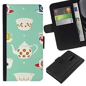 WINCASE Cuadro Funda Voltear Cuero Ranura Tarjetas TPU Carcasas Protectora Cover Case Para LG G3 - taza de té de porcelana patrón minimalista