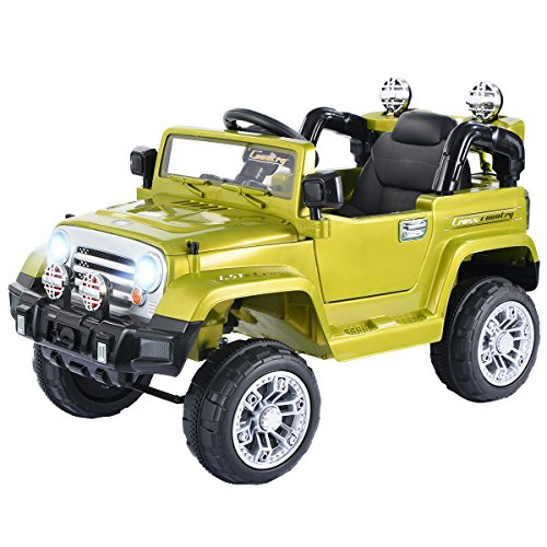 Costzon Ride On Jeep Car, 12V 2WD Powered Truck, Manual/Parental Remote Control Modes Truck Vehicle with Headlights, MP3 Port, Music, Horn for Kids (Green Jeep)