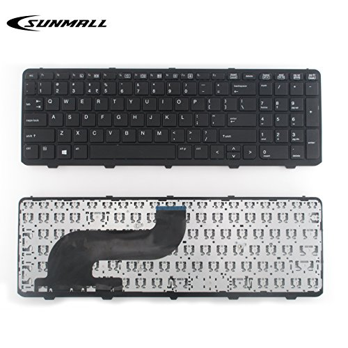 SUNMALL Keyboard Replacement with Frame for hp probook 650 g1 and 655 g1 Black US Layout(6 Months - Frames Us