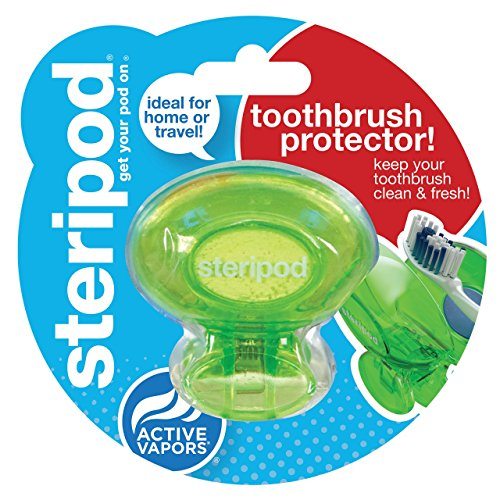 Steripod Clip-On Tooth2brush Sanitizer, Green, 2-pack