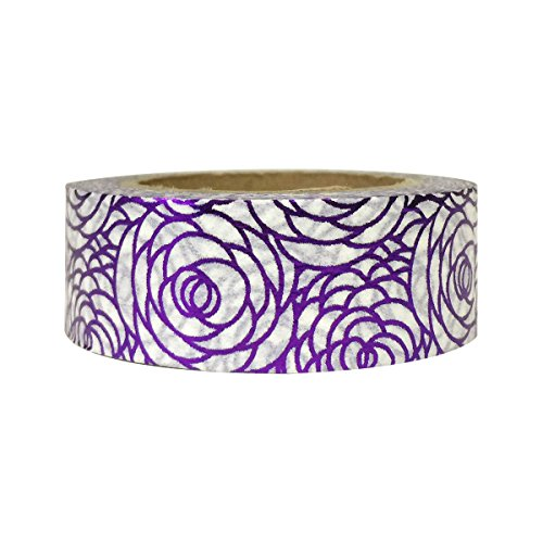 AllyDrew Washi Tapes Decorative Masking Tapes, Peonies Shiny Purple