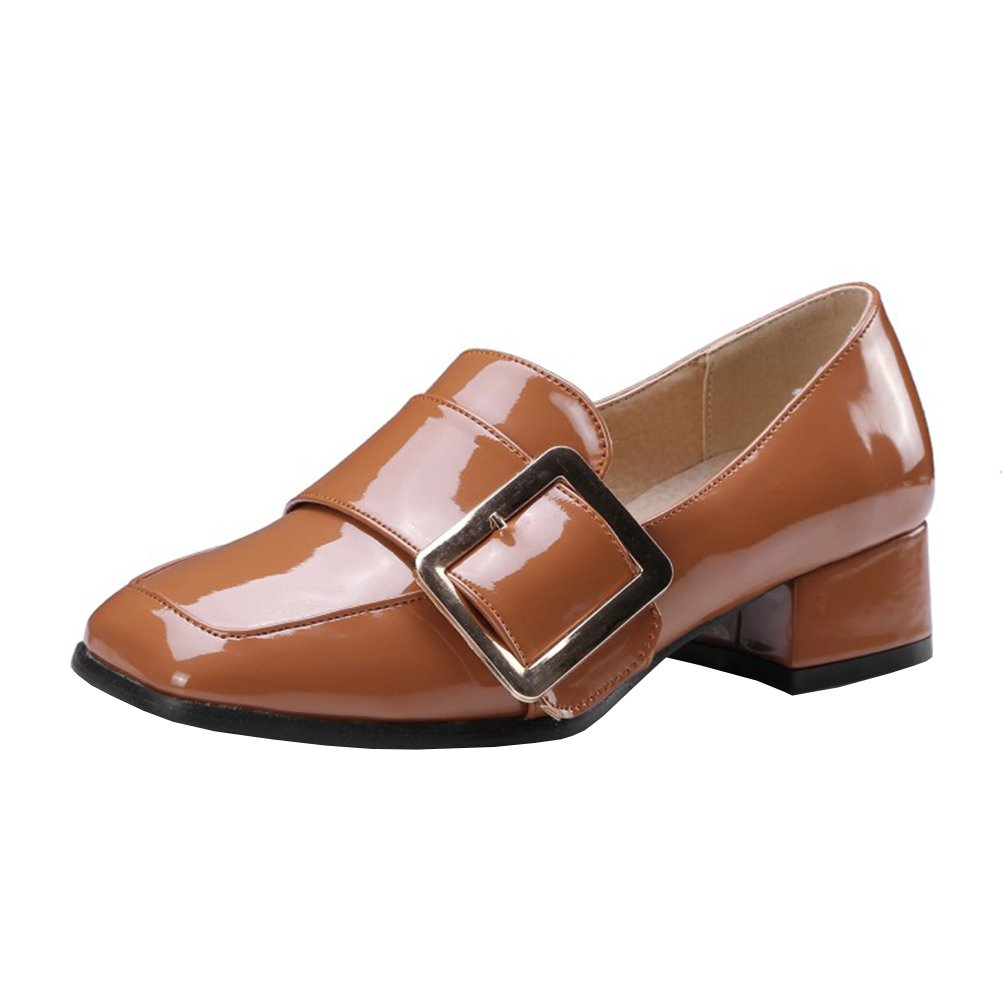 Agodor Womens Patent Leather Low Block Heel Square Toe Court Shoes with Buckle Slip On Retro Shoes